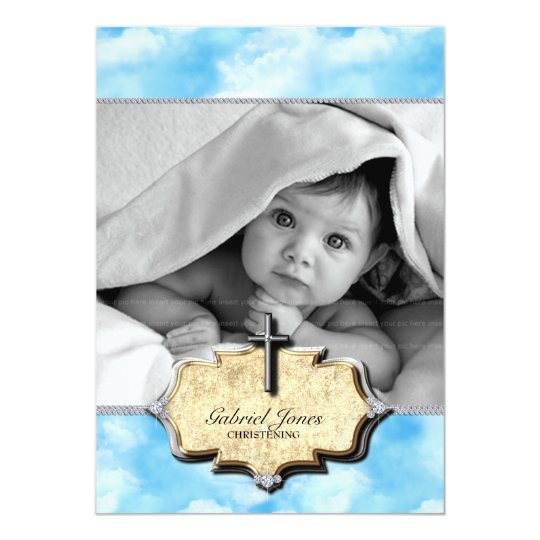 Baby Shower Clouds Christening Celebration Baptism Card
