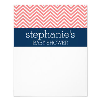 Baby Shower Collection - Coral and Navy Chevrons 11.5 Cm X 14 Cm Flyer