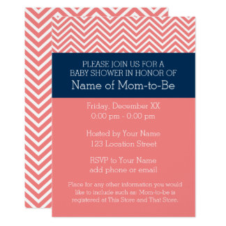 Baby Shower Collection - Coral and Navy Chevrons Card