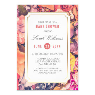 Baby Shower | Colorful Roses & Gold Border Card