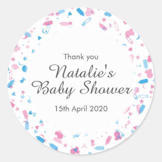 Baby Shower Confetti Thank You Favor Round Sticker