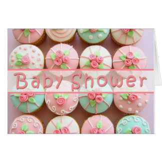 Baby Shower - Cupcakes with Pastel Designs Greeting Card