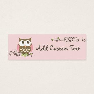 Baby shower custom owl tag mini business card