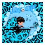 Baby Shower Cute Baby Boy Blue Leopard Pram