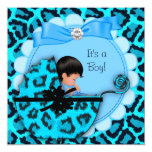Baby Shower Cute Baby Boy Blue Leopard Pram Personalised Announcement