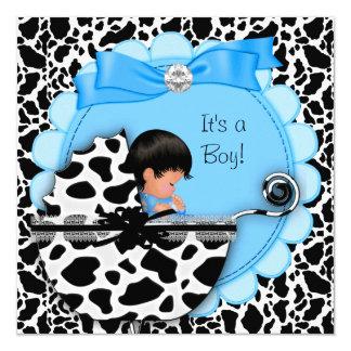 Baby Shower Cute Baby Boy Blue Pram Cow 13 Cm X 13 Cm Square Invitation Card