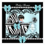 Baby Shower Cute Baby Boy Blue Zebra Lace