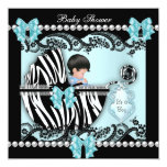 Baby Shower Cute Baby Boy Blue Zebra Lace Personalized Invitations