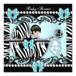 Baby Shower Cute Baby Boy Blue Zebra Lace Custom Announcement