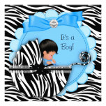 Baby Shower Cute Baby Boy Blue Zebra Pram Personalised Announcements