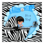 Baby Shower Cute Baby Boy Blue Zebra Pram Personalised Announcements