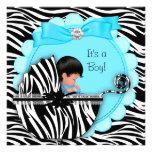 Baby Shower Cute Baby Boy Blue Zebra Pram Custom Announcement