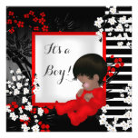 Baby Shower Cute Baby Boy Red Blossom 2 AM Announcements