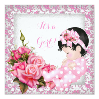 Baby Shower Cute Baby Girl Pink Roses Damask 13 Cm X 13 Cm Square Invitation Card