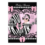 Baby Shower Cute Baby Girl Pink Zebra Lace 9 Cm X 13 Cm Invitation Card