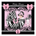 Baby Shower Cute Baby Girl Pink Zebra Lace Personalised Invitation