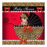 Baby Shower Cute Baby Girl Red Leopard Bow 13 Cm X 13 Cm Square Invitation Card