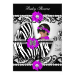 Baby Shower Cute Baby Girl Zebra Purple Pink Black 11 Cm X 16 Cm Invitation Card