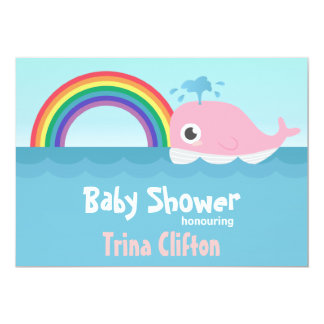 Baby Shower - Cute Baby Pink Whale with Rainbow Card