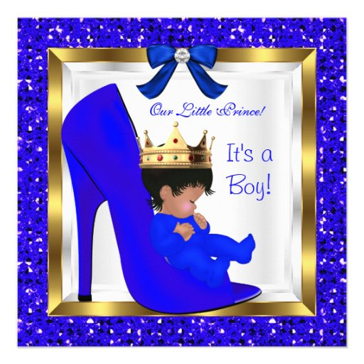 Baby Shower Cute Boy Prince Royal Blue Shoe Invitations