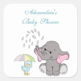 Baby Shower, Cute Elephant Sprinkle, Custom Square Sticker