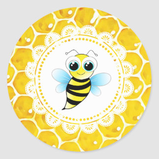 Baby Shower Cute Honeybee Honeycomb Stickers