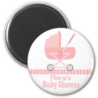 Baby Shower: Cute pink baby stroller / pram 6 Cm Round Magnet