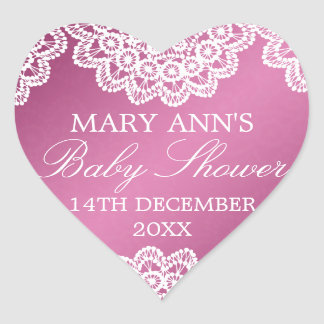 Baby Shower Date Vintage Lace Pink Heart Sticker