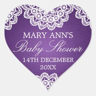 Baby Shower Date Vintage Lace Purple Heart Sticker