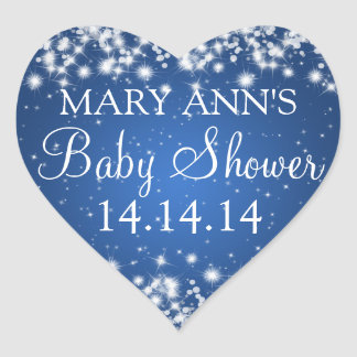 Baby Shower Date Winter Sparkle Blue Heart Sticker