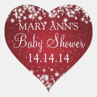 Baby Shower Date Winter Sparkle Red Heart Sticker
