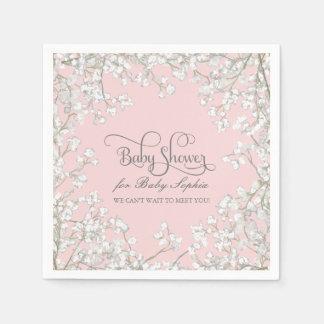 Baby Shower Decor Babys Breath Wreath Floral Disposable Serviette