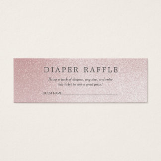 Baby Shower Diaper Raffle | Ombre Rose Glitter Mini Business Card