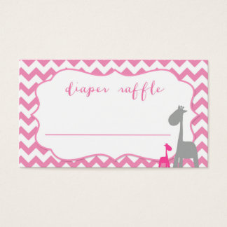Baby Shower Diaper Raffle Pink Chevron and Giraffe Business Card