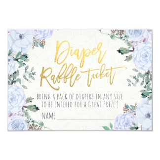 Baby Shower Diaper Raffle Ticket Watercolor Floral Card