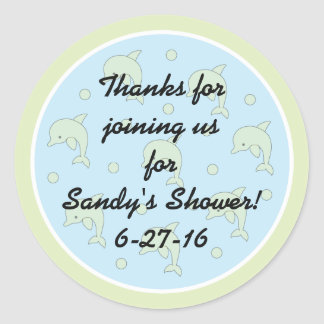 """Baby Shower """"Dolphins/Blue"""" Stickers 1 1/2"""" or 3"""""""