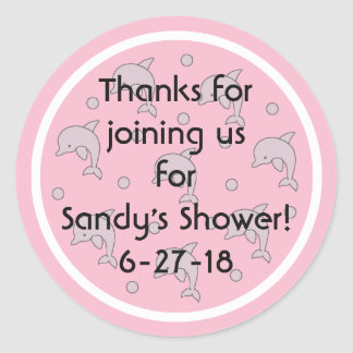"""Baby Shower """"Dolphins/Pink"""" Stickers 1 1/2"""" or 3"""""""
