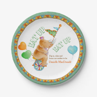 Baby Shower eat up circus unicycle rhino art plate