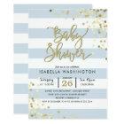 Baby Shower | Elegant Gold Confetti & Blue Stripes Card