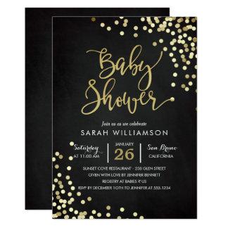 Baby Shower   Elegant Gold Confetti & Chalkboard Card