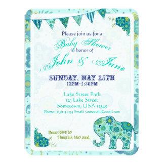 Baby Shower Elephant Flowers Card