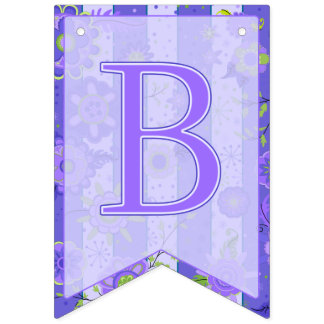 Baby Shower Elephant Flowers Purple Bunting
