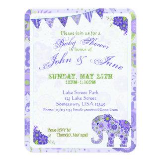 Baby Shower Elephant Flowers Purple Card