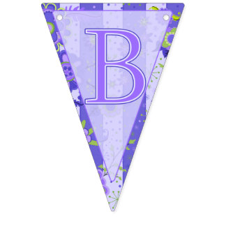 Baby Shower Elephant Flowers Purple Triangle Bunting