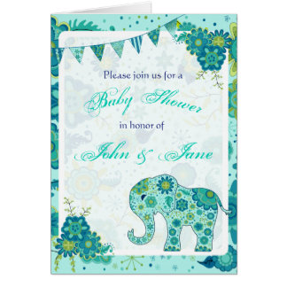 Baby Shower Elephant Flowers Teal Card