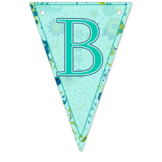 Baby Shower Elephant Flowers Triangle Bunting