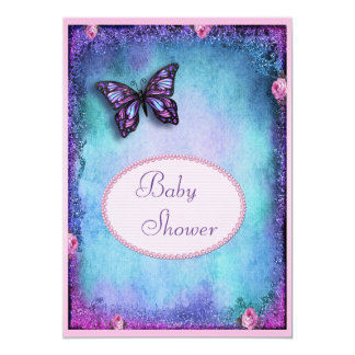 Baby Shower Faux Glitter, Butterfly, Roses, Lace Card
