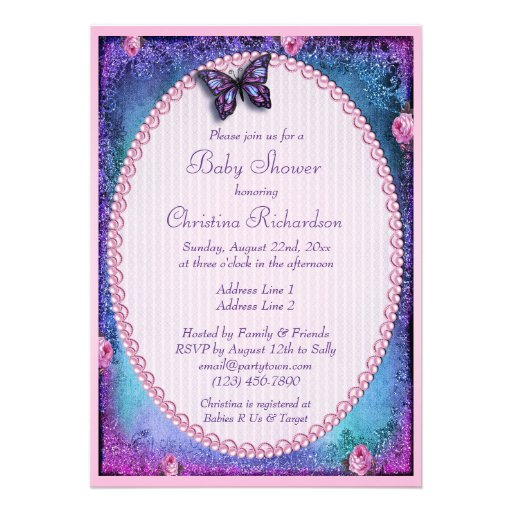 Baby Shower Faux Glitter, Butterfly, Roses, Lace Announcement