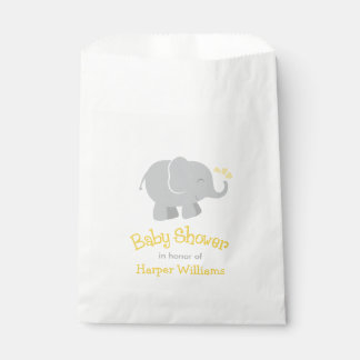 Baby Shower Favor Bags | Elephant Yellow Gray