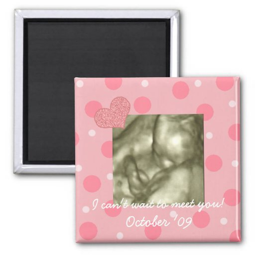 Baby Shower Favor Dots and Hearts Magnets